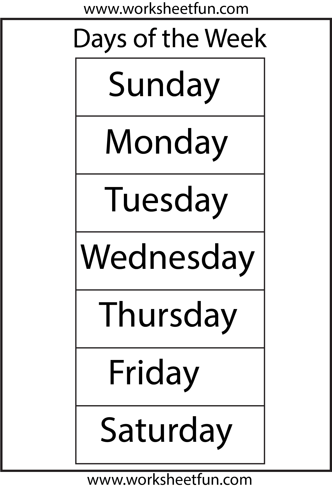 7 Best Images Of Days Of The Week Free Printable