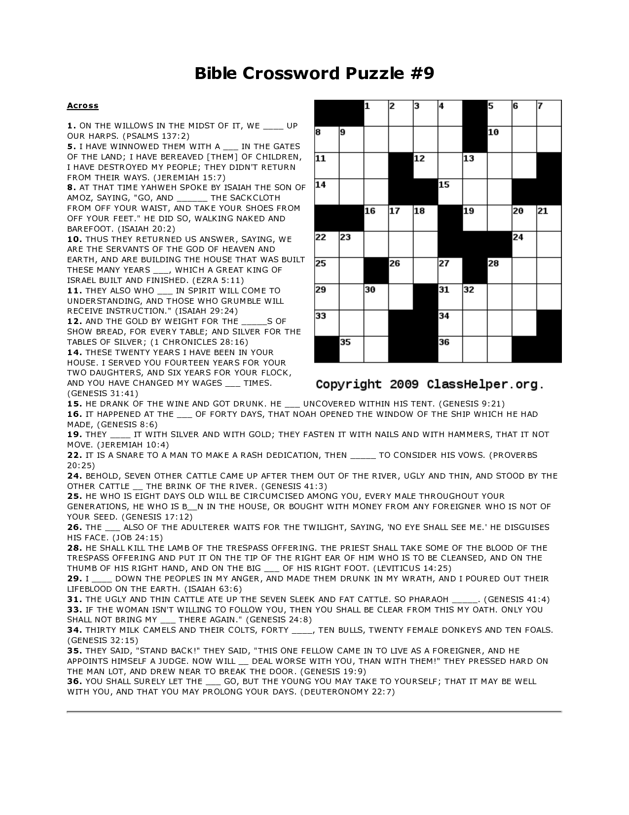 Adult Bible Word Puzzles