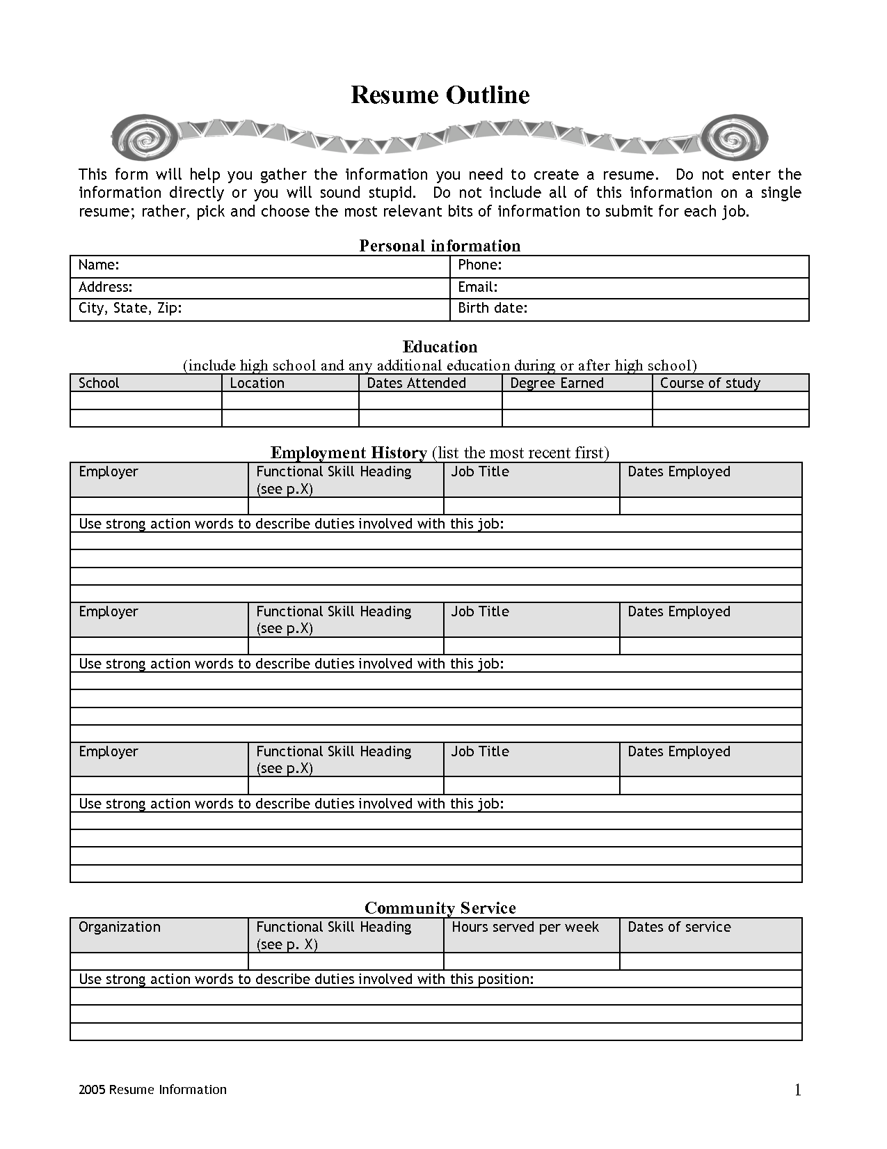 free resume templates fill in the blank