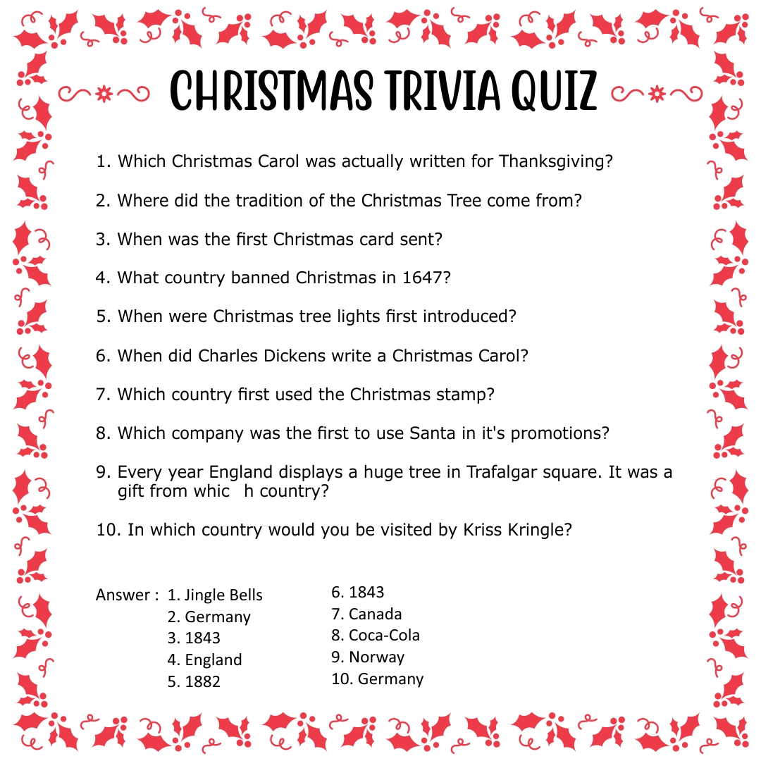 6 Best Images Of Easy Christmas Trivia Printable