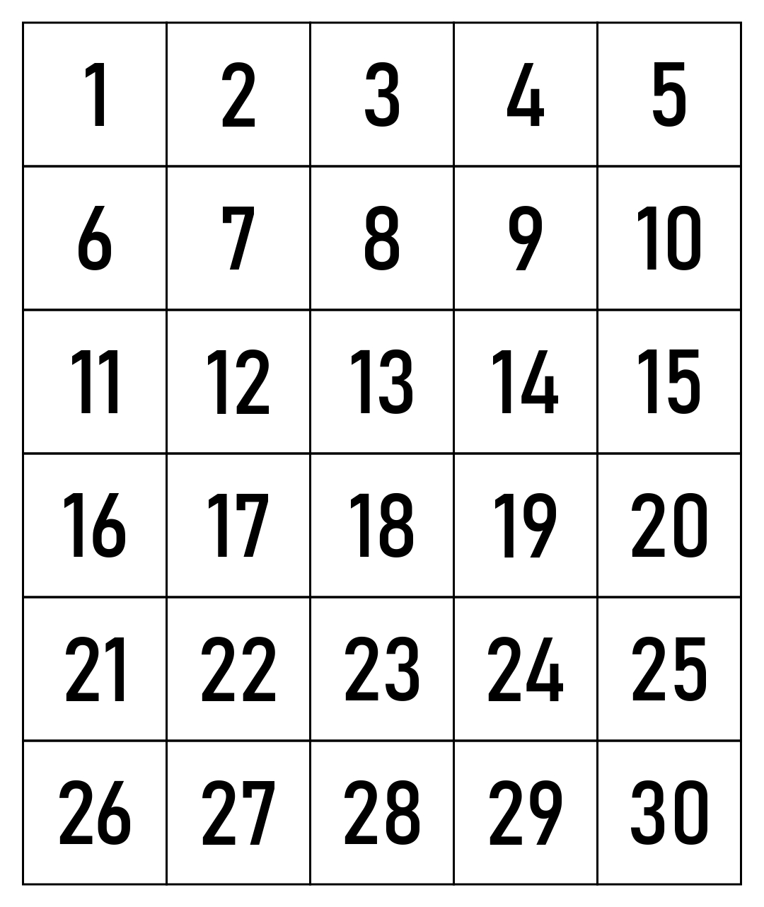 6 Best Printable Number Grid 1 50