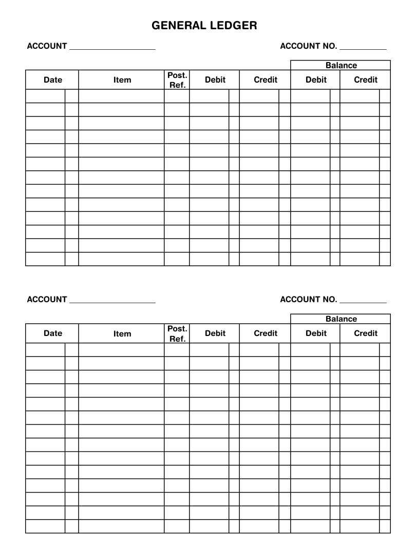 7 Best Images Of Printable Blank Ledger Sheet