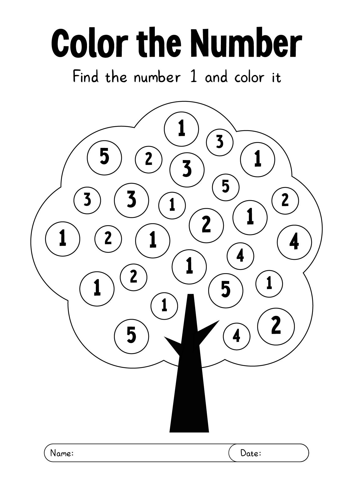 8 Best Printable Number 1 Worksheet