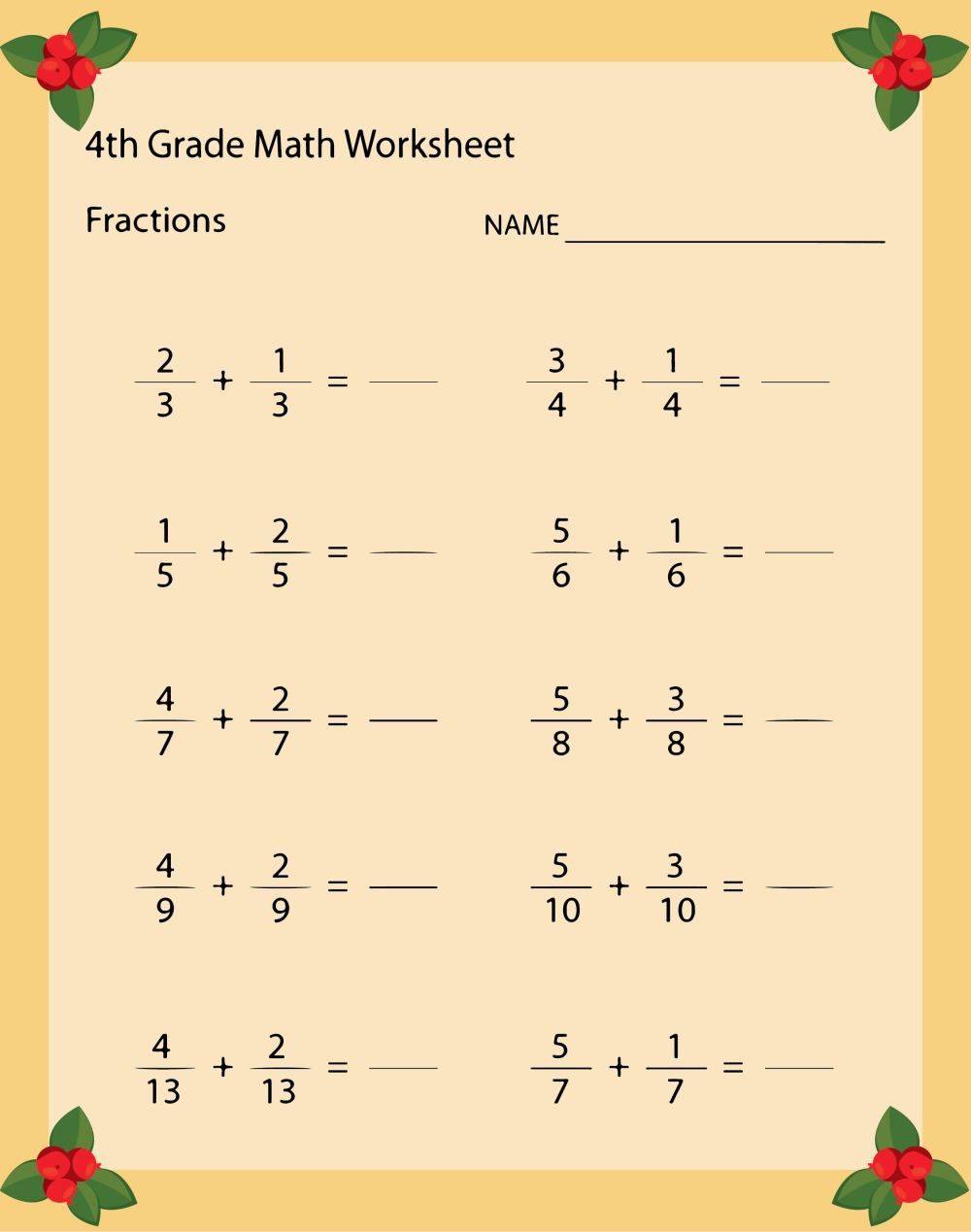 medium resolution of 5 Best 4th Grade Math Worksheets Free Printable For Thanksgiving -  printablee.com