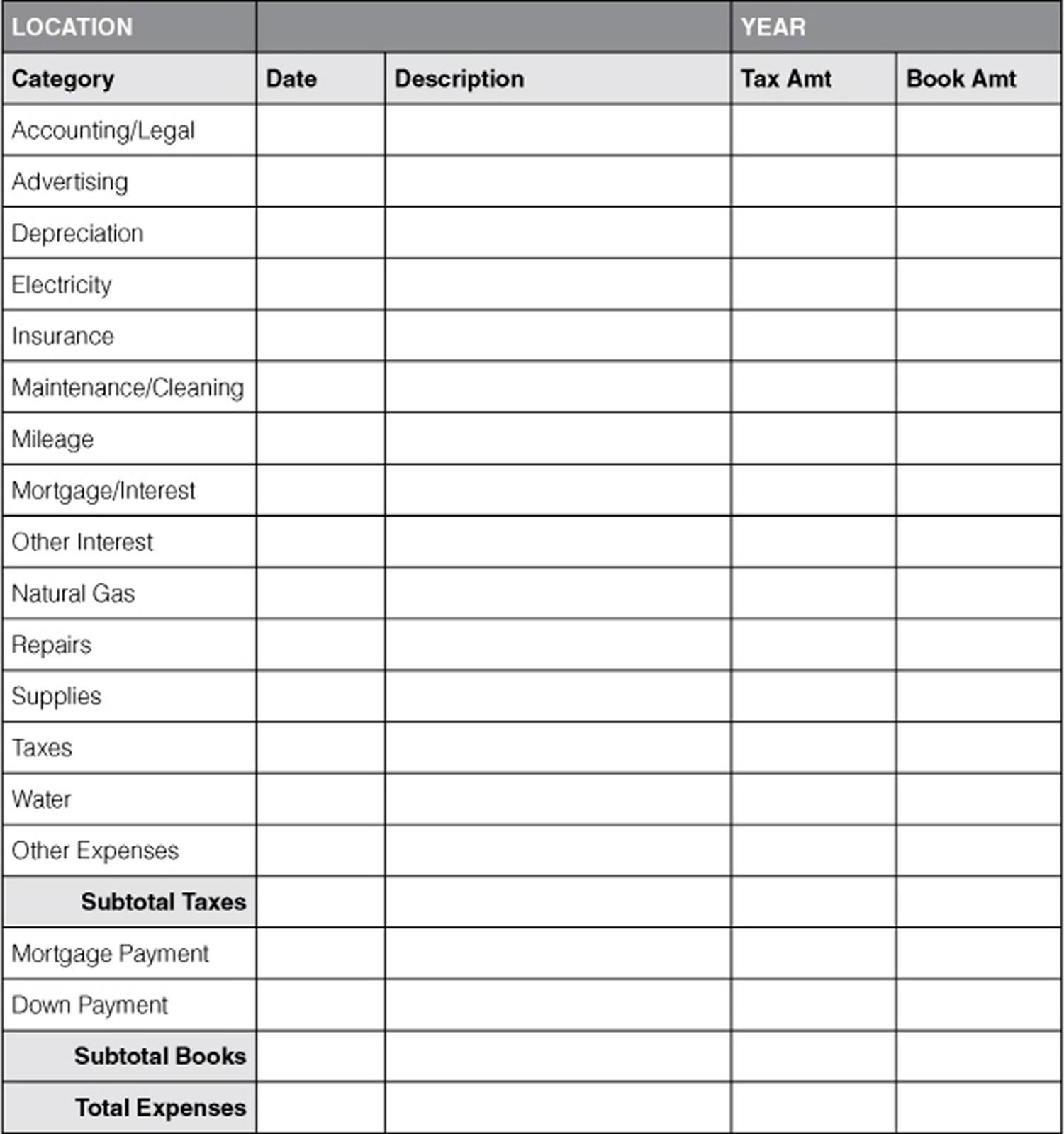 Household Accounting Worksheet