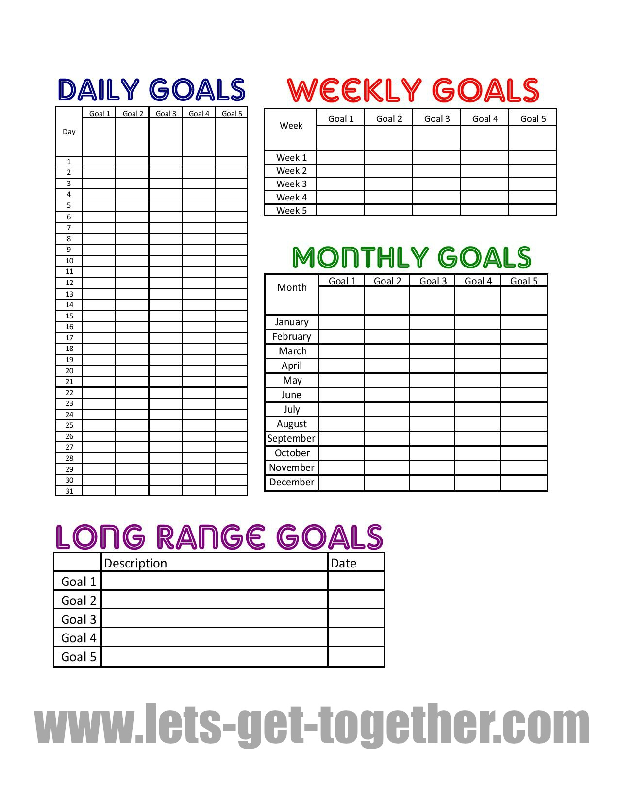 5 Best Images Of Printable Goal Sheets