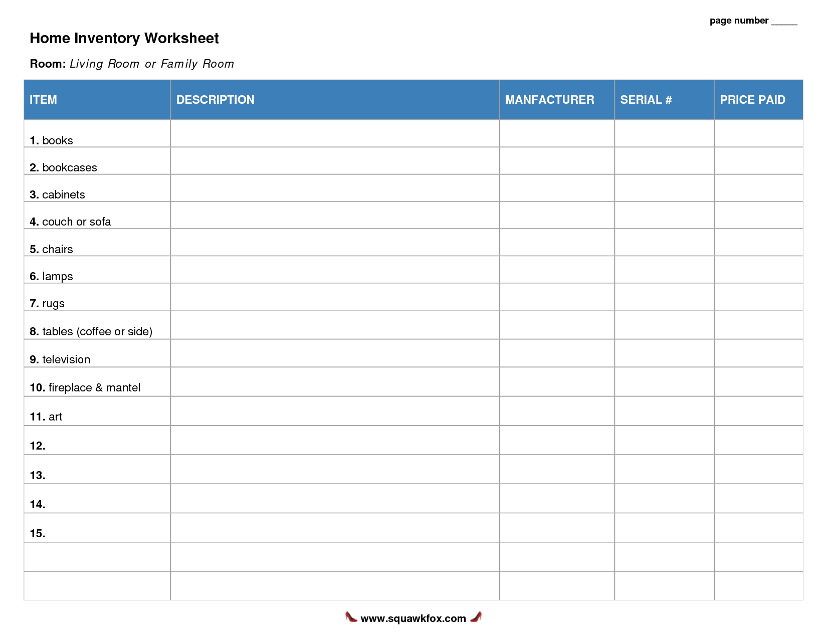 7 Best Images Of Printable Inventory Forms