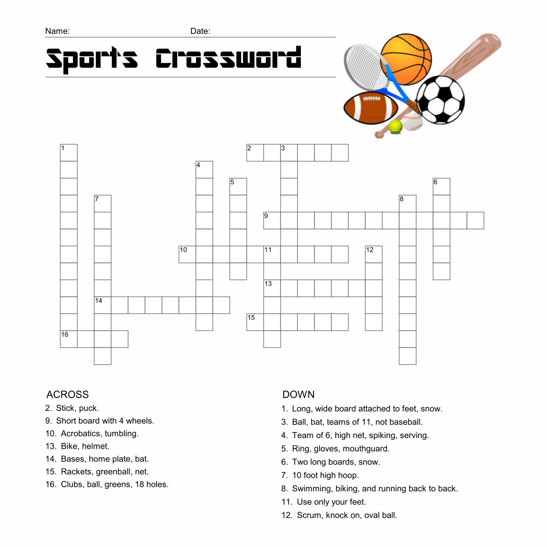 6 Best Images Of Sport Crossword Printable