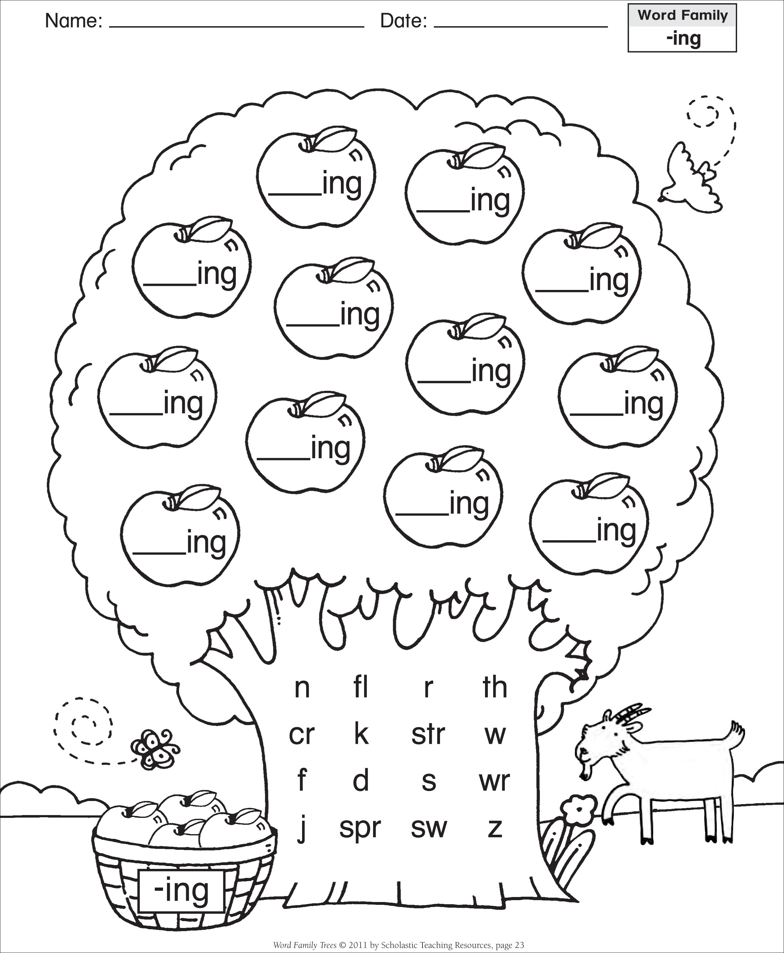 ing word family worksheets Gallery