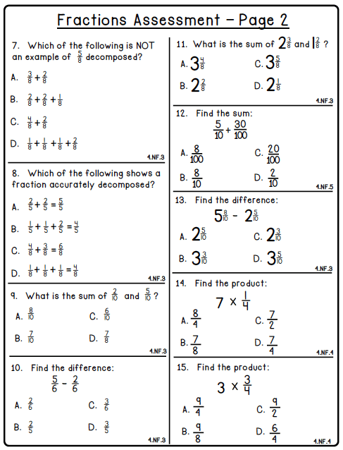Math Worksheets For 4th Grade Fractions