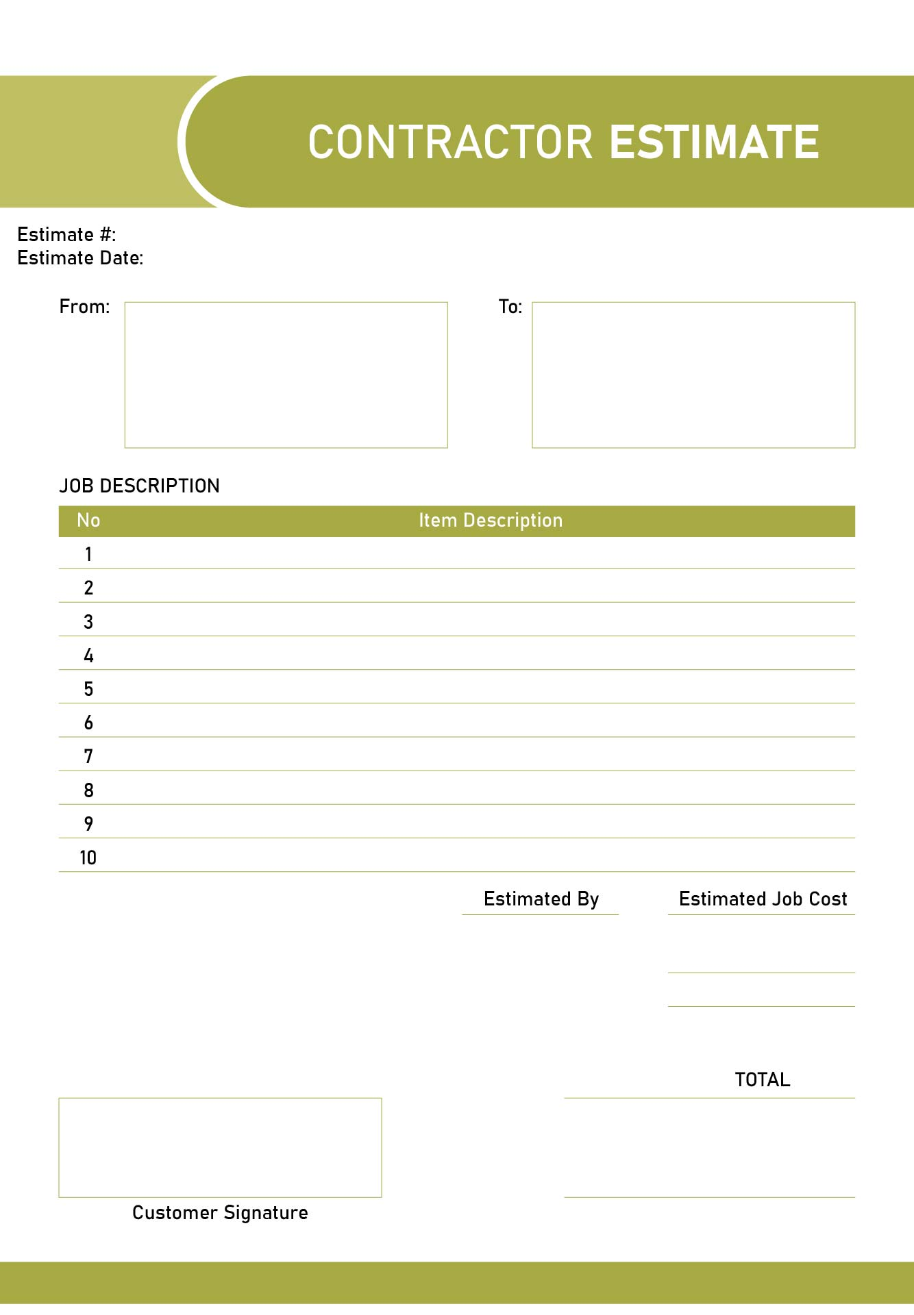 You have the right to receive a written estimate of charges for repairs made. 8 Best Printable Estimate Templates Printablee Com