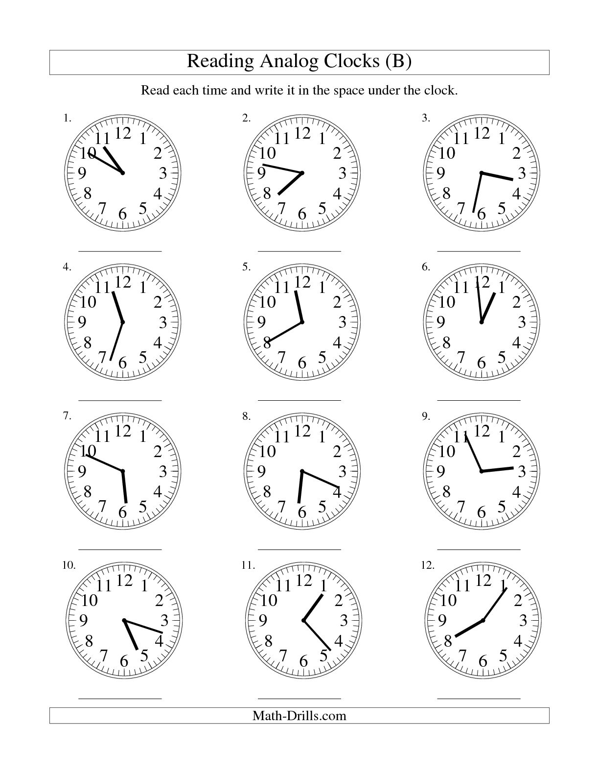 5 Best Images Of Clock Printable For Kindergarten Book