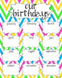 6 Best Images of Classroom Birthday Calendar Printable