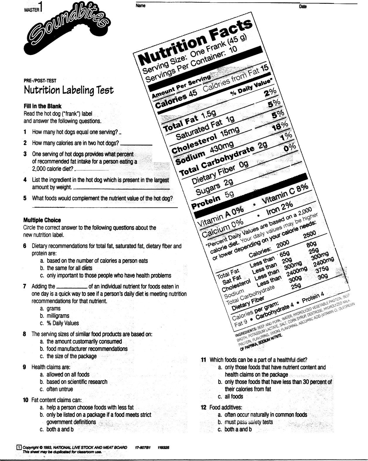 5 Best Images of Printable Food Label Worksheet