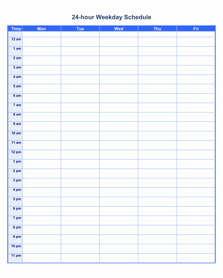 6 Best Images Of Printable Daily Schedule By Hour