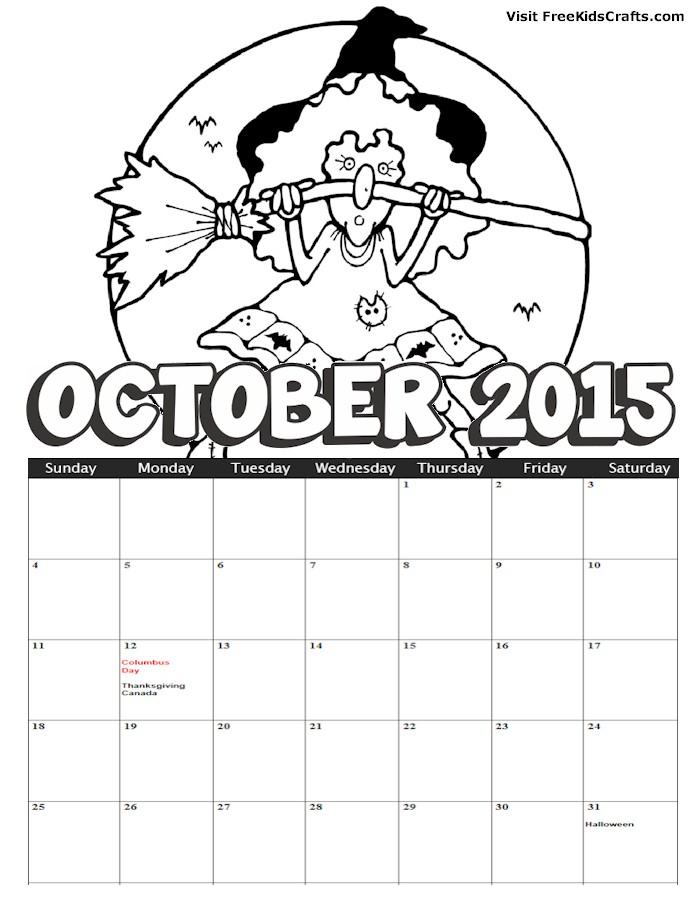 8 Best Images of October 2015 Calendar Printable Preschool