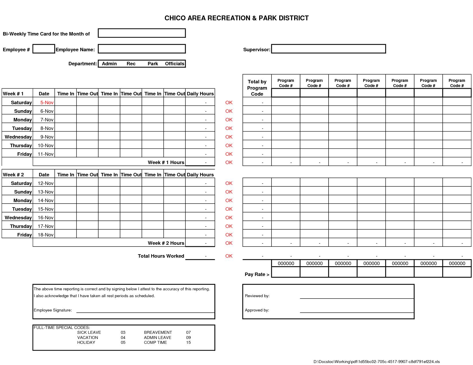 bi weekly time card template