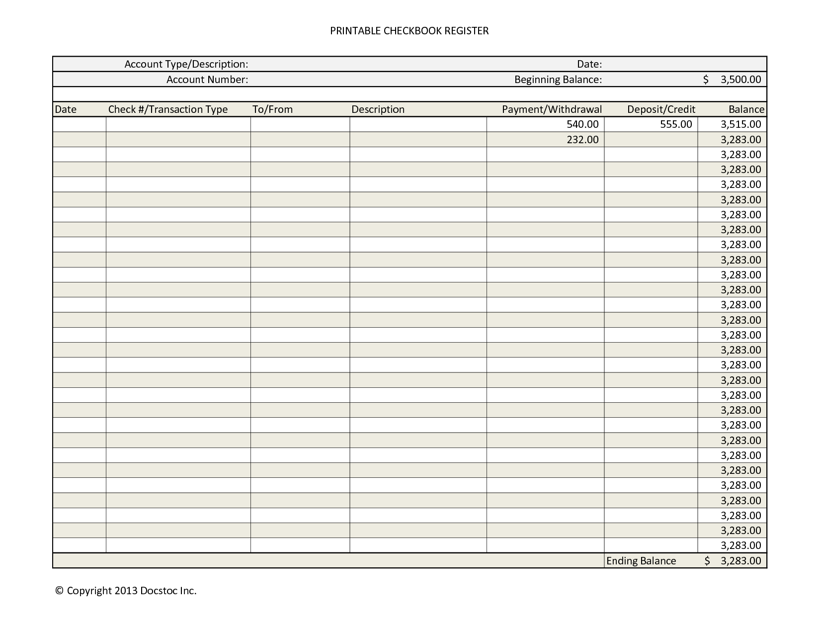 7 Best Images Of Free Large Printable Check Register