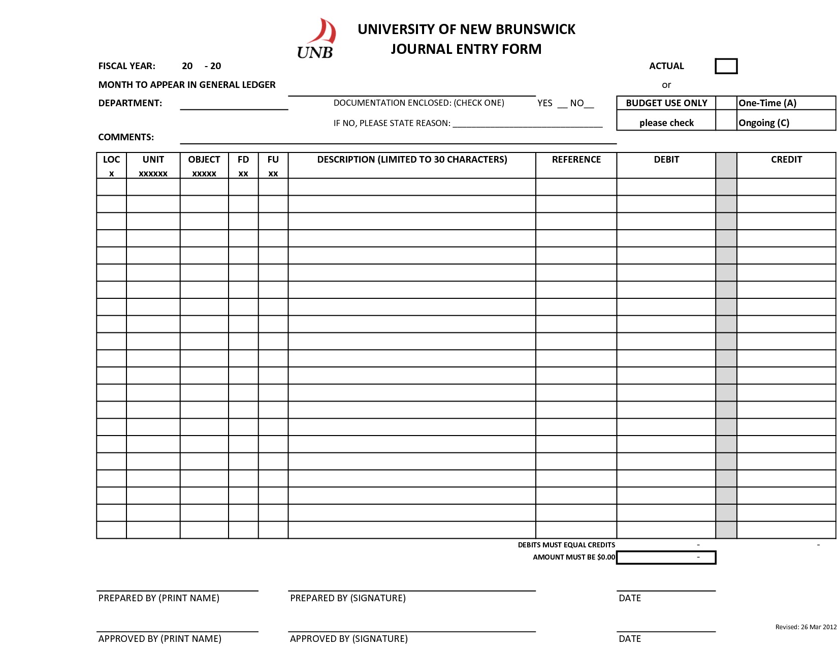 Accounting Journal Entry Worksheet