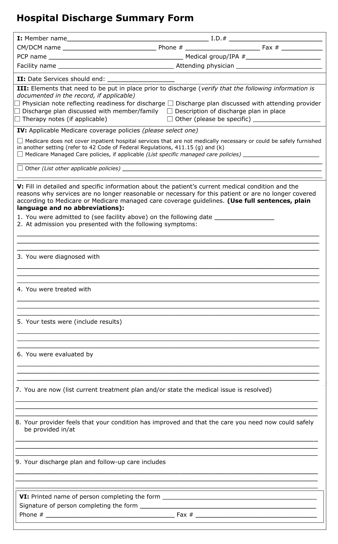 sample hospital discharge papers