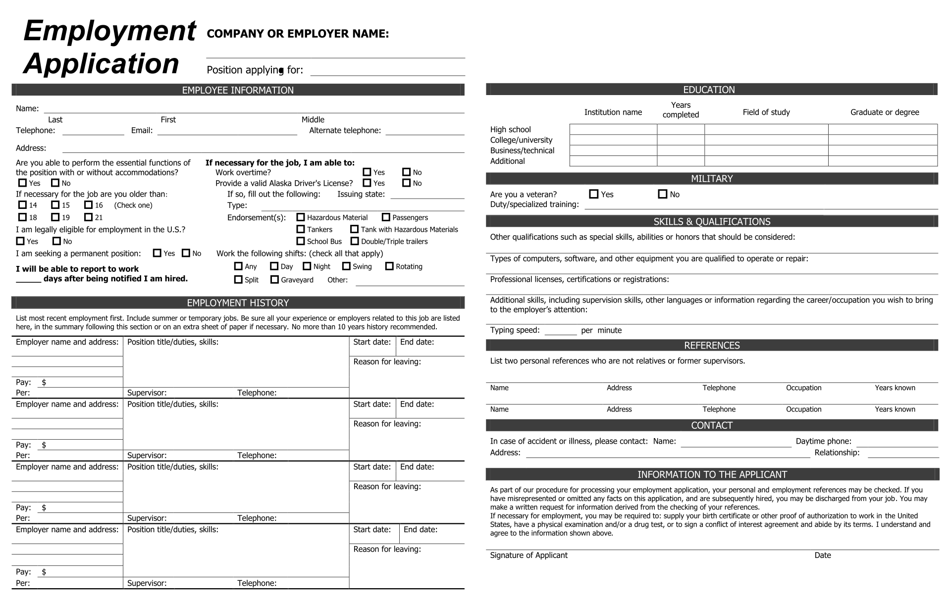 9 Best Images Of Practice Job Application Forms Printable