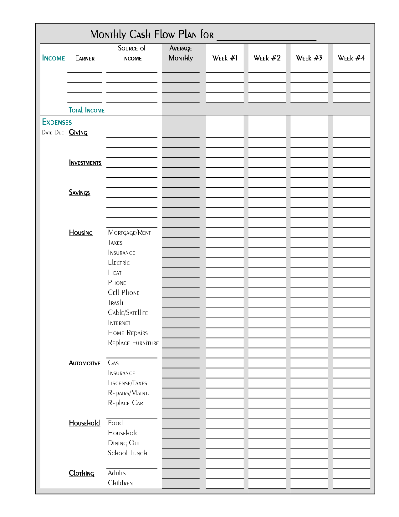 Search Results For Blank Budget Sheet Calendar
