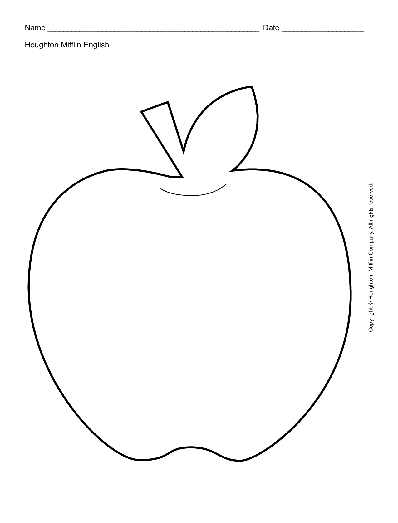 7 Best Images Of Apple Outline Coloring Pages Printables