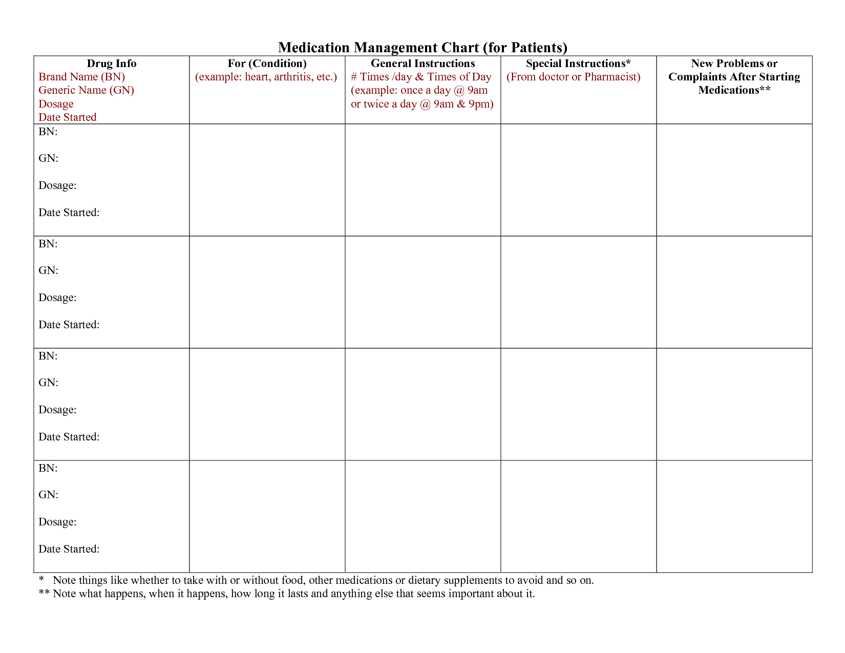 3 Best Images Of Printable Medication Chart