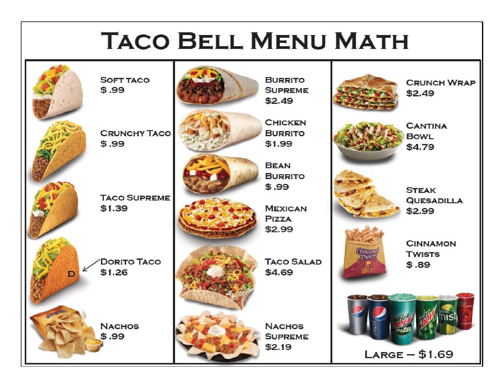 6 Best Images Of Taco Bell Printable Menu