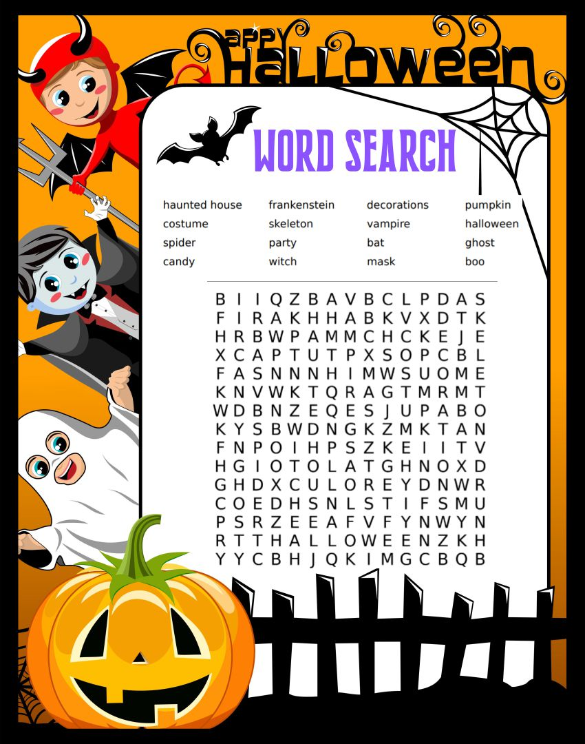 6 Best Images of Long Halloween Word Search Printable