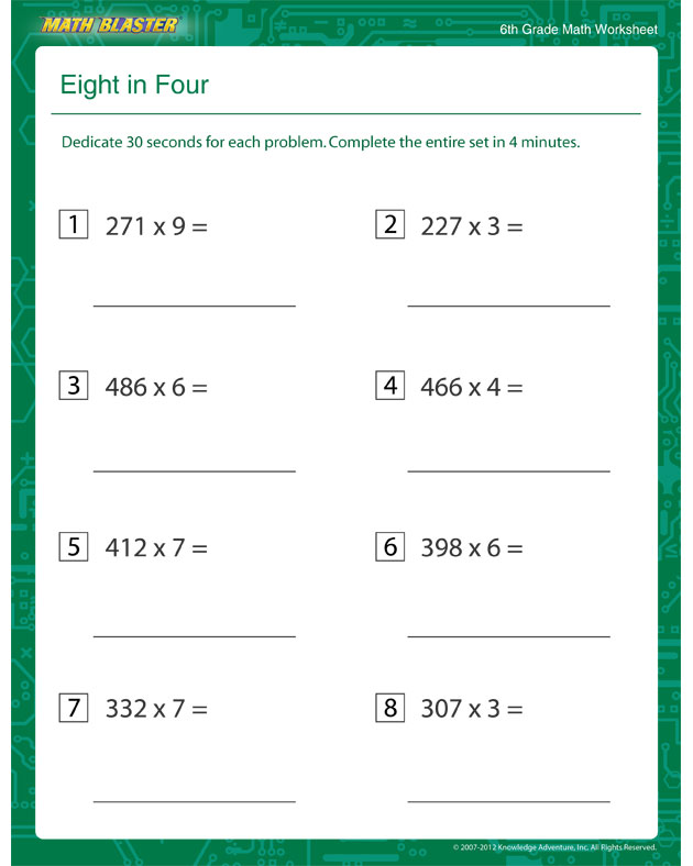 6th Grade Math Algebra Worksheets