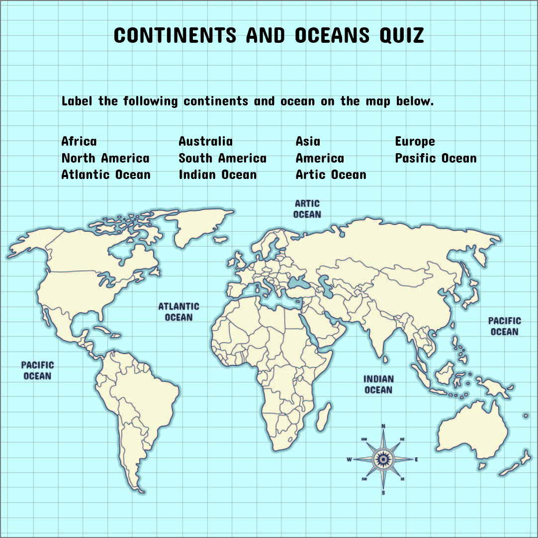 5 Best Images Of Continents And Oceans Map Printable