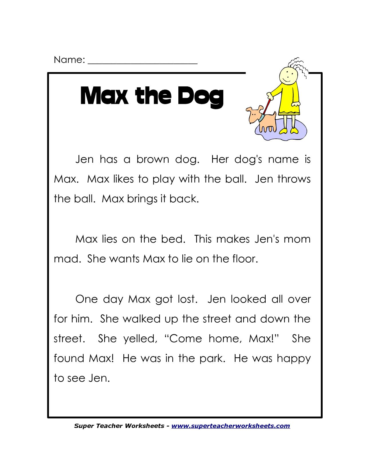 - 1st Grade Comprehension Worksheet Free Printable Worksheets And