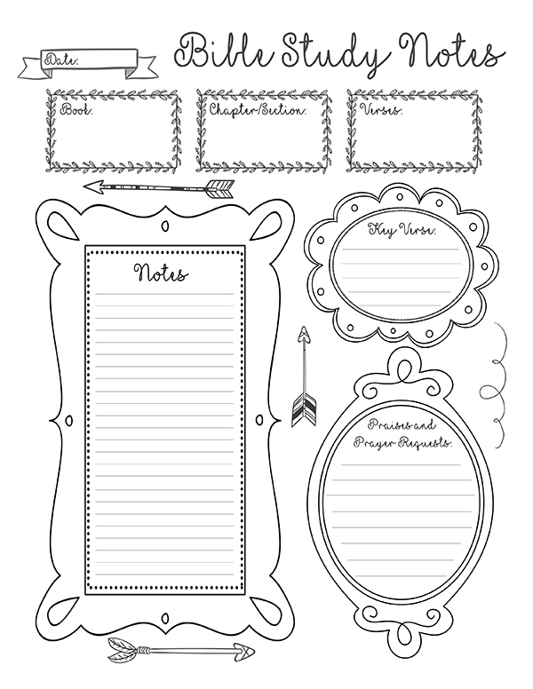 8 Best Images of Printable Bible Note Taking Sheets