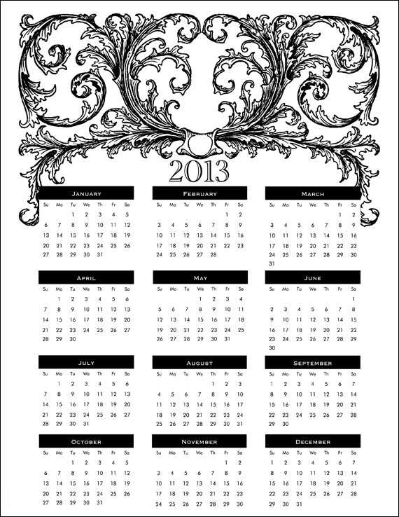 6 Best Images of Free Printable 2013 Calendar With