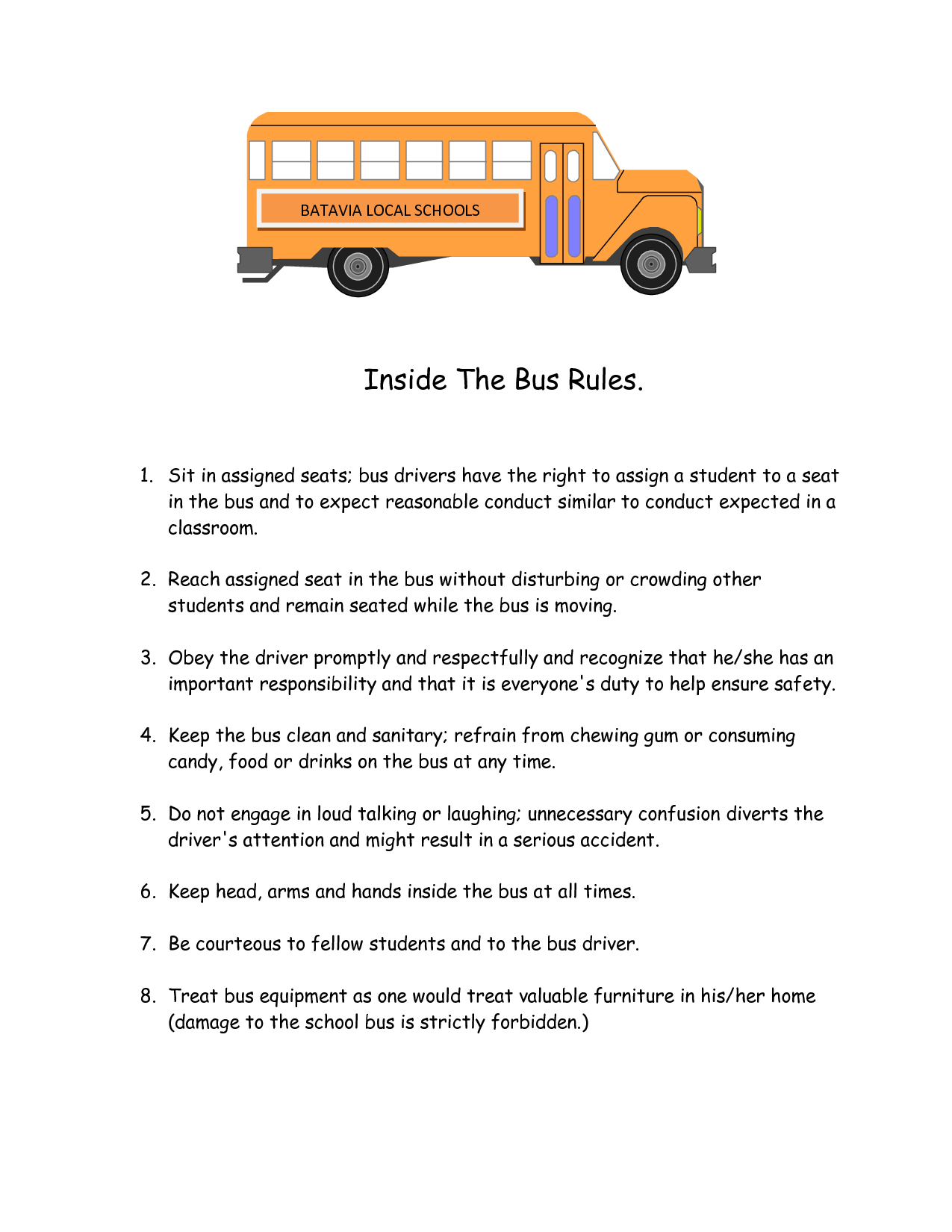 6 Best Images Of School Rules Printable