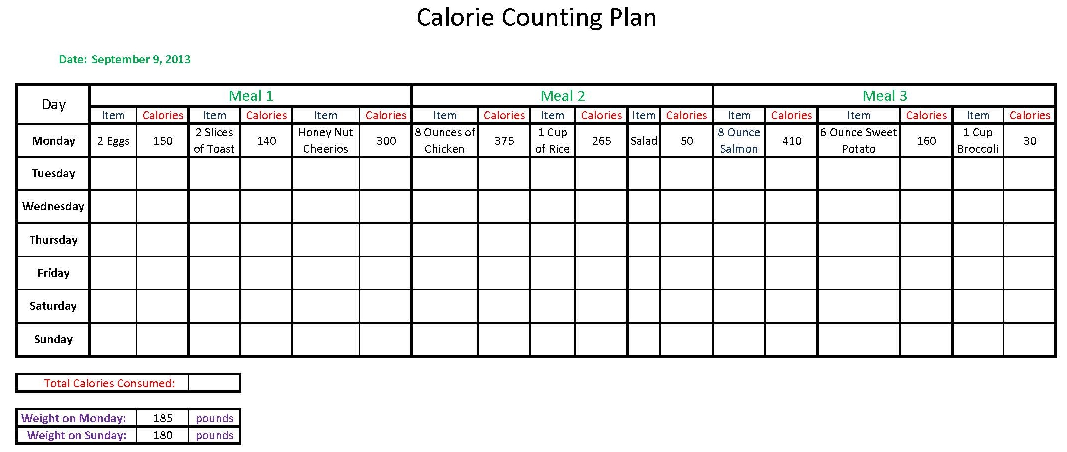 6 Best Images Of Calorie Counting Sheets Printable