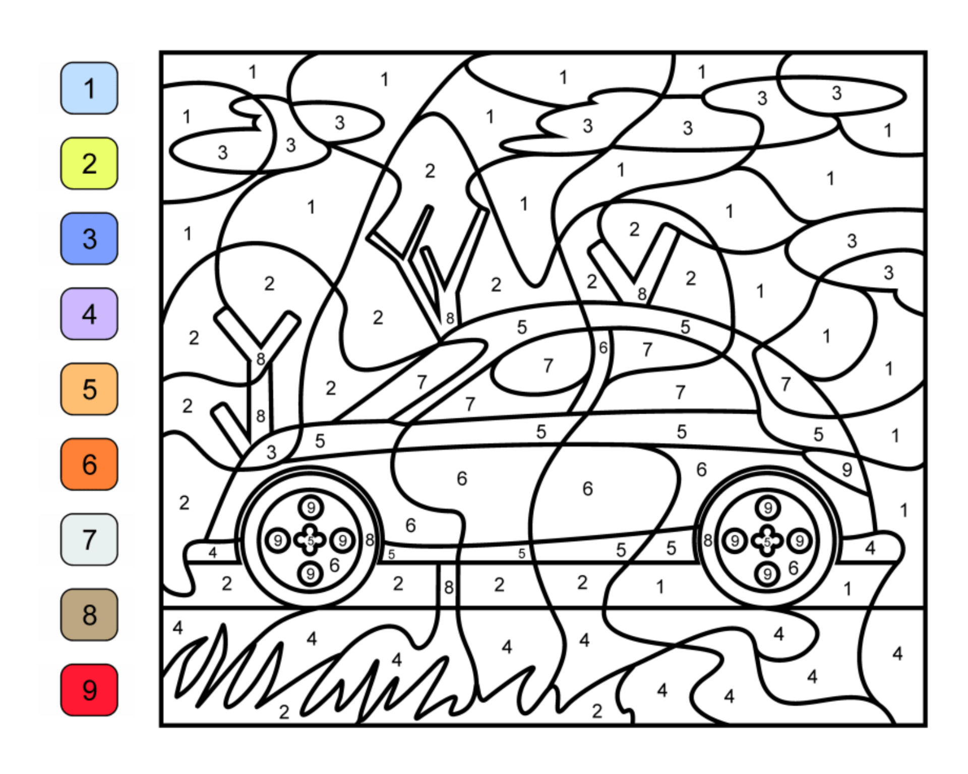 9 Best Images of Car Color By Number Printables
