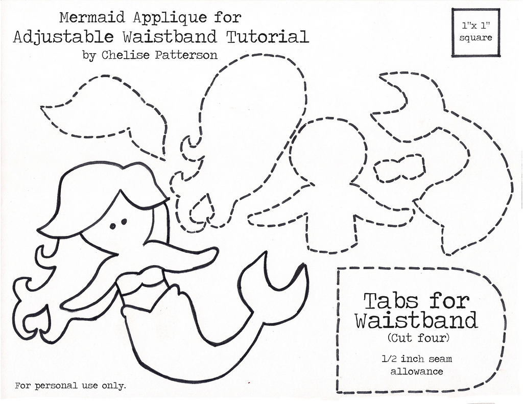 Mermaid Printable Cut Out Templates Sketch Coloring Page