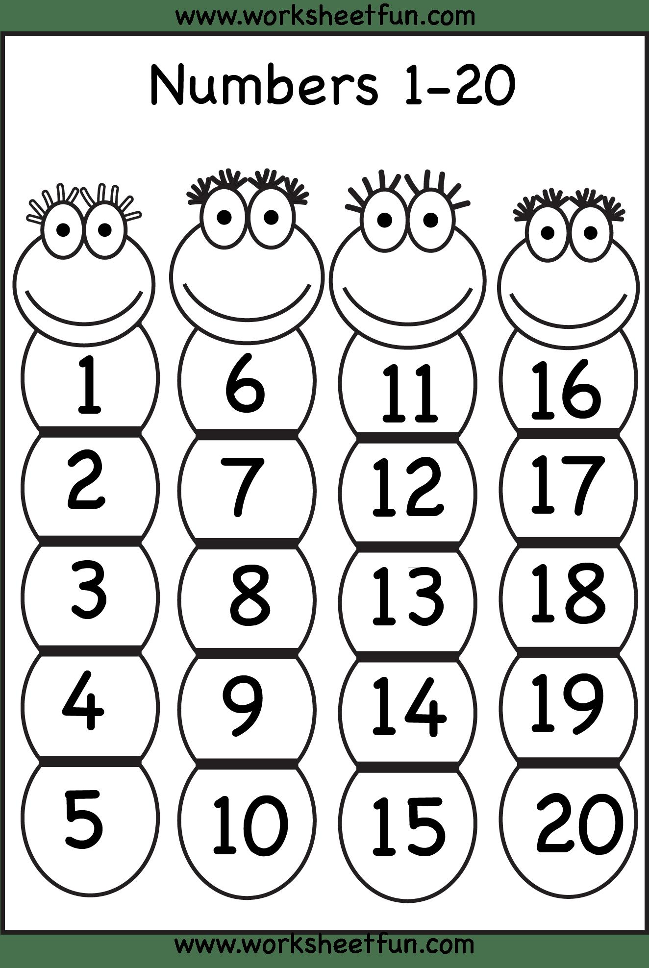 8 Best Images Of Free Printable Number Worksheets 1 20