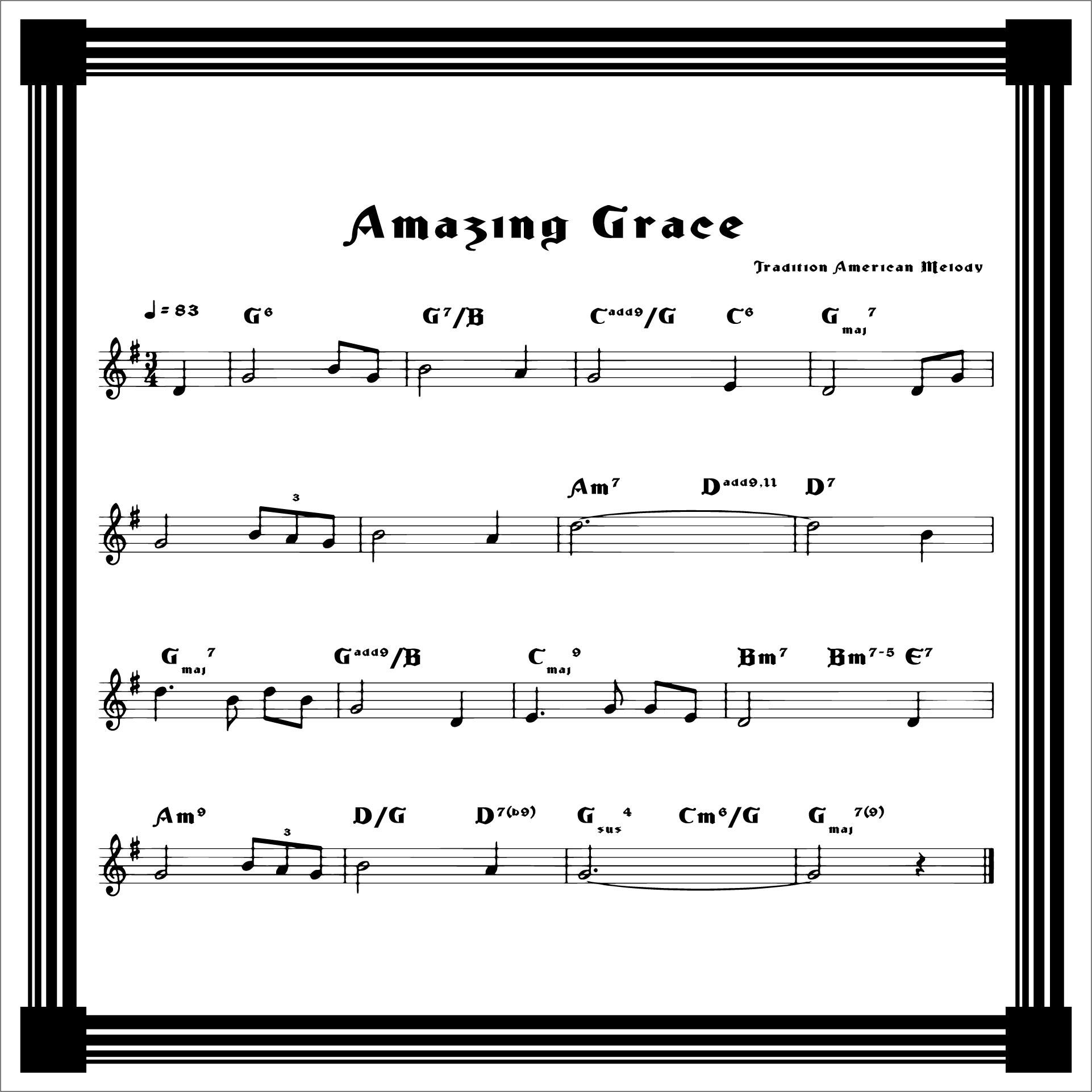 Amazing Grace Hymn Sheet Music