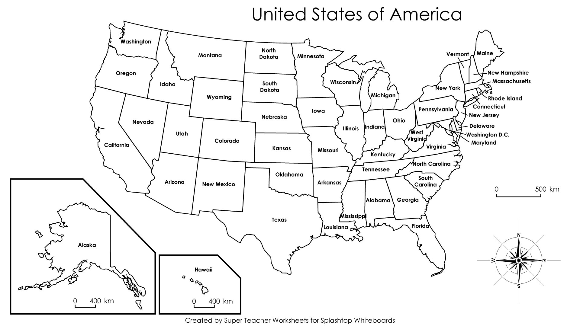 United States Map Labeled