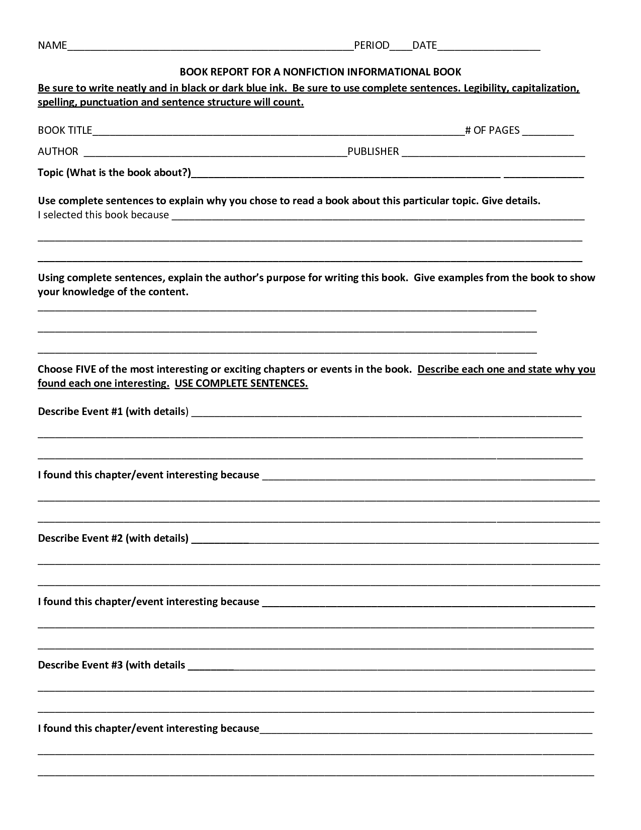 2nd Grade Nonfiction Book Report Template
