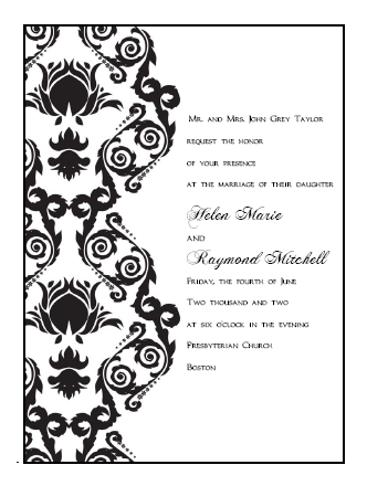 6 Best Images of Printable Damask Borders For Invitations