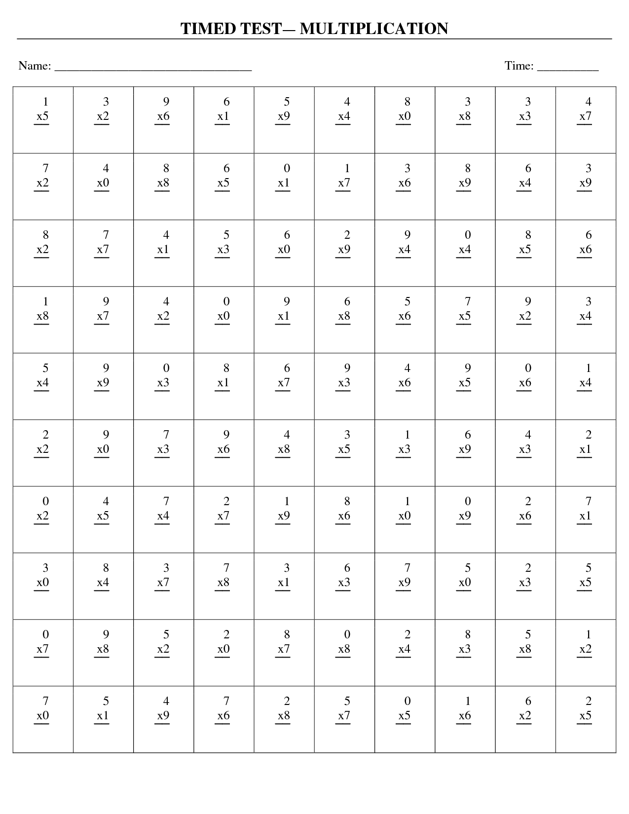 6 Best Images Of Multiplication X4 Worksheet Printable
