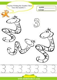 Number 2 Worksheets For Preschoolers - number 3 worksheet ...