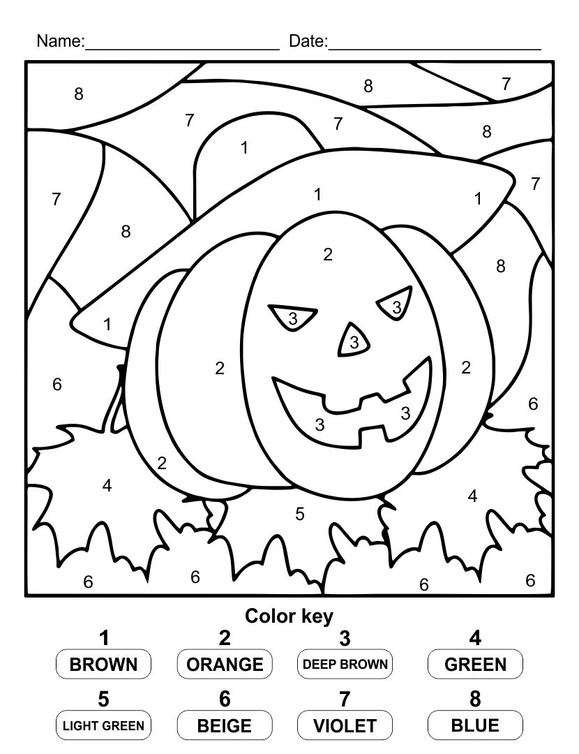8 Best Images of Halloween Color By Number Printables