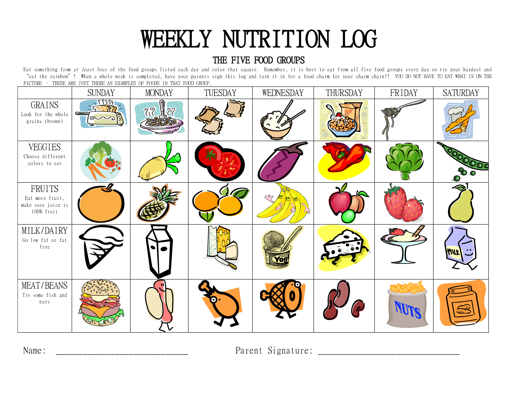 6 Best Images Of Printable Chart Food Groups