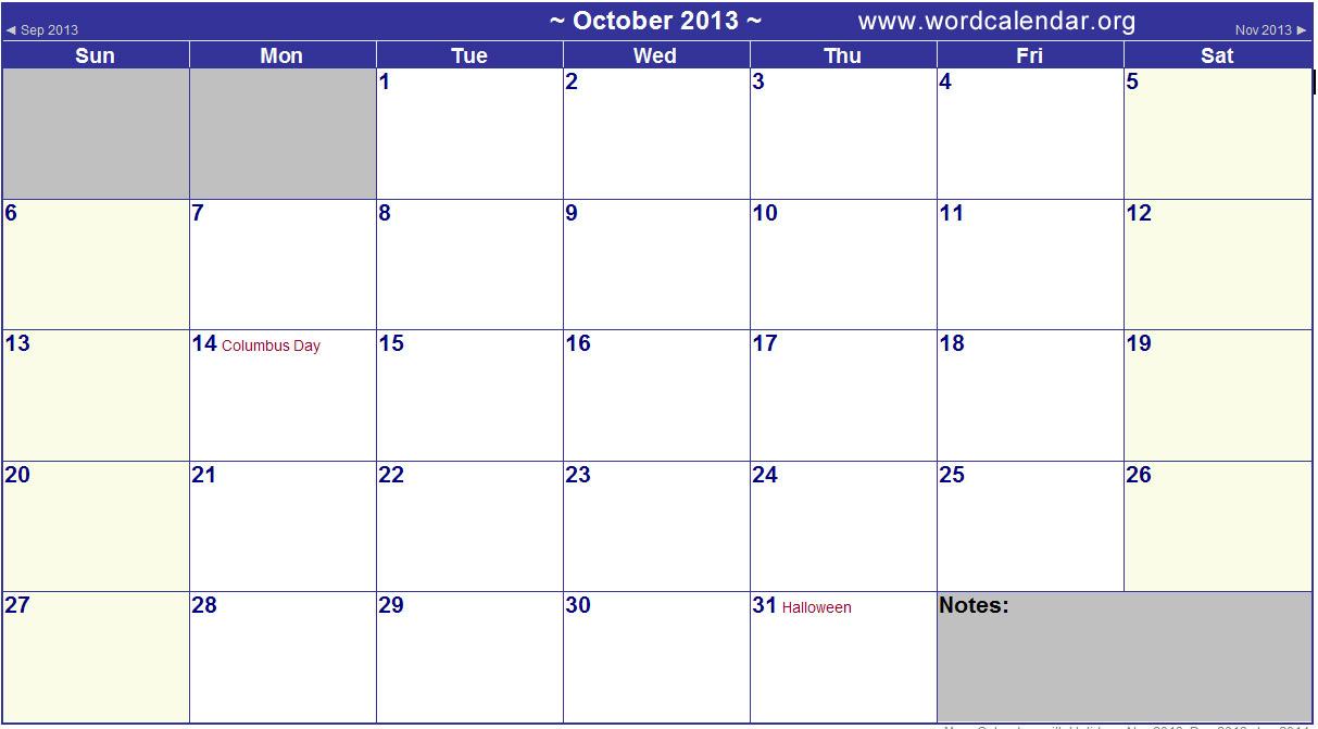 Free Printable Calendar Template October 2012 | Calendar Software Ipad