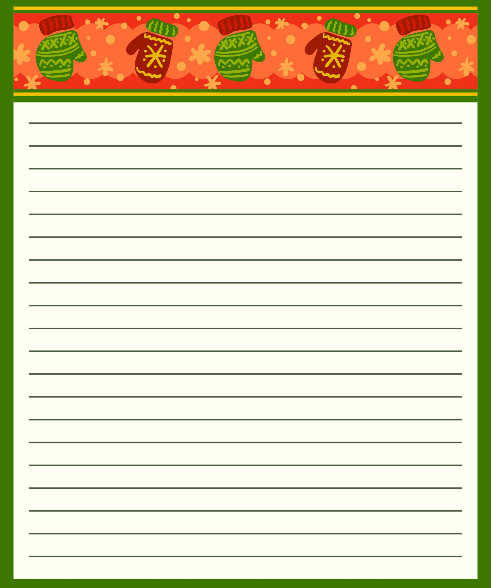image about Free Printable Christmas Borders called Xmas Composing Paper With Border Amusement and activity